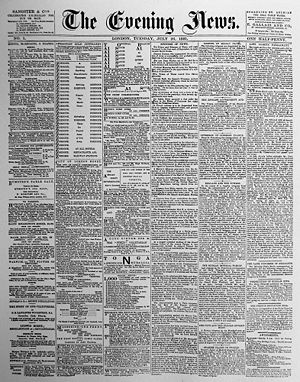 The Evening News (London newspaper) - Image: Evening News July 26 1881