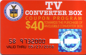 Digital television transition in the United States - Image: FCC DTV Coupon Card