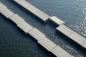 I-10 Twin Span Bridge - I-10 damage of old bridges over Lake Pontchartrain.