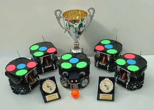 FU-Fighters RoboCup SmallSize Team 2004 with trophies.jpg