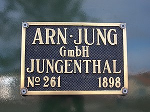 Arnold Jung Lokomotivfabrik - Factory plate on Mallet locomotive 99 5902 of the HSB