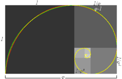 Approximate and true golden spirals. The green spiral is made from quarter-circles tangent to the interior of each square, while the red spiral is a Golden Spiral, a special type of logarithmic spiral. Overlapping portions appear yellow. The length of the side of a larger square to the next smaller square is in the golden ratio.
