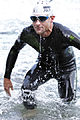 Faris Al-Sultan leaving swim course at Ironman 70.3 Austria 2012.jpg