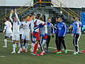 Faroe Islands celebrate after winning against Greece on Tórsvøllur.JPG