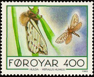Ghost moth - Image: Faroe stamp 245 Hepialus humuli