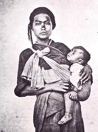 Taiwanese aborigines - Taiwanese aborigine woman and infant, by John Thomson, 1871