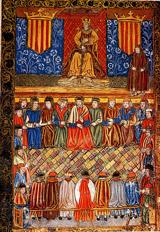Conquest of Majorca - Fernando II of Aragon on his throne flanked by two shields with the emblem of the Royal Seal of Aragon. Frontispiece of a 1495 edition of Catalan constitutions.