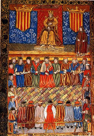 Catalan Courts - Image: Fernando II entre dos escudos del Señal Real de Aragón