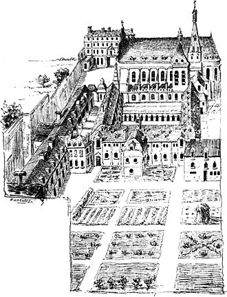 Couvent des Feuillants - View of the convent looking north from what is now rue de Rivoli (19th century illustration after a view of 1707)  To the left, the alignment of the buildings and the passage along the cloister wall correspond to the axis of the present-day rue de Castiglione. The central path through the garden, at right angles to this axis, corresponds to the line of the present-day rue du Mont-Thabor.