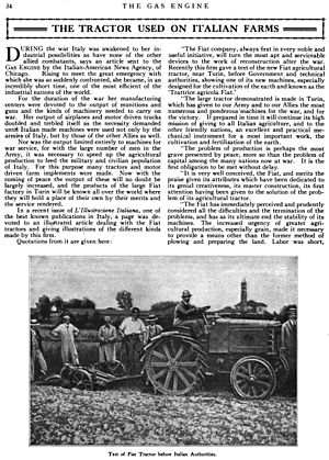 Fiat S.p.A. - Fiat tractor in a 1919 American magazine article