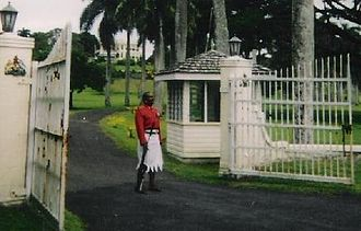 Fijians - Guard outside the presidential palace in Suva, 2003