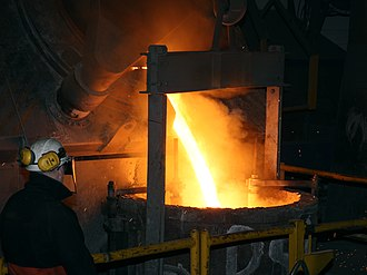 Goodwin Steel Castings - Pouring molten charge from the furnace into the ladle
