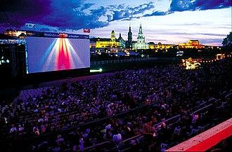 Dresden Elbe Valley - Filmnächte outdoor cinema in the Elbe Valley with Dresden skyline