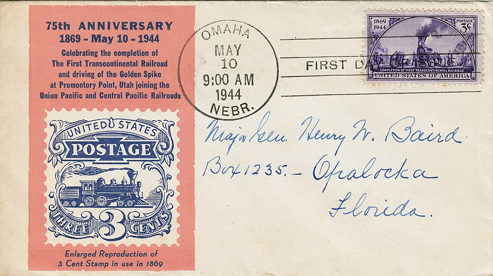 First Day Cover Sc922 75th Anniversary First Transcontinental Railroad May 10, 1944