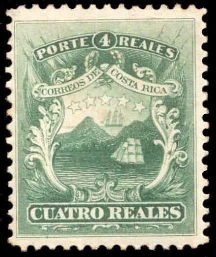 The 1849 national coat of arms was featured in the first postal stamp issued in 1862. First postal stamp CR 4 Reales 1863.jpg