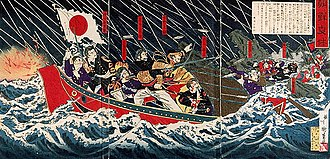 First Sino-Japanese War - Woodblock print depicting the flight of the Japanese legation in 1882