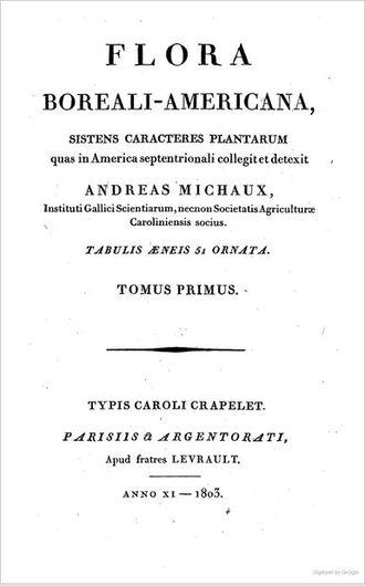 André Michaux - Title page of Flora Boreali-Americana: sistens caracteres plantarum, Volume 1