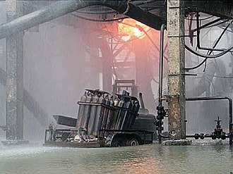 Formosa Plastics propylene explosion - The source of the leak. The trailer holding the canisters hit the piping to its right.