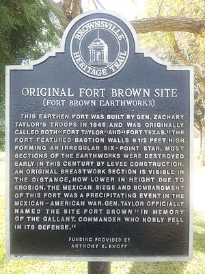 Fort Brown - Image: Fort Brown Texas Historical Marker