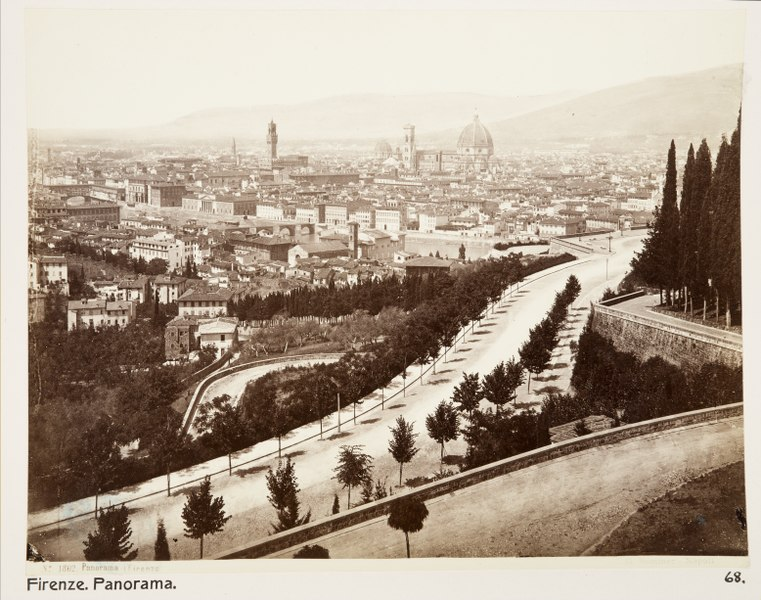 Viale dei Colli and panorama of Florence in a nineteenth-century photo