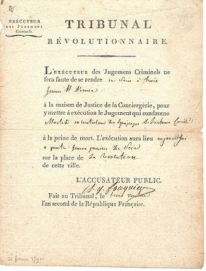 photographie d'une décision du tribunal avec la signature de Fouquier-Tinville