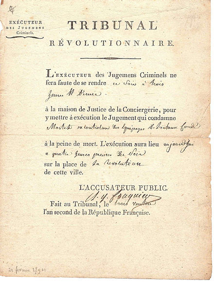 Act of death sentence signed by Fouquier Tinville, public prosecutor to the committee of public safety during the French Revolution Fouquier.jpg