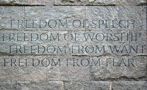Roosevelt Institute - Four Freedoms Wall in the Franklin D. Roosevelt Memorial, Washington, D.C.
