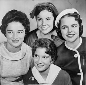 Half hat - Four Miss America contestants in 1959, with two sporting fashionable half-hat designs