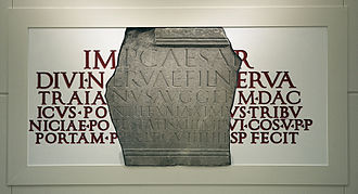 Legio IX Hispana - The last definite attestation of the Ninth: a stone inscription at York dated 108, on display in the Yorkshire Museum.