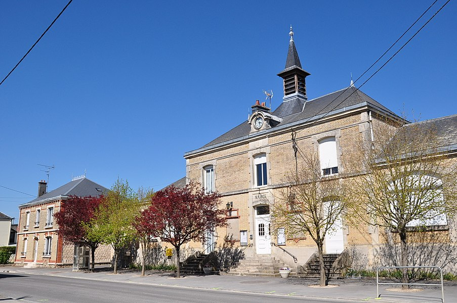 Town Hall of Saint-Hilaire-le-Petit (Marne department, Champagne-Ardenne region, France).