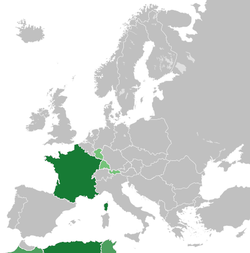 *   France *   French protectorates *   French occupation zones in Germany and Austria