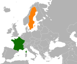Map indicating locations of France and Sweden