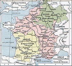 Neustria (North-west), surrounded by Austrasia, Aquitaine and Burgundy