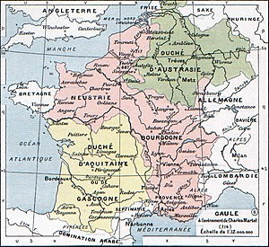 Austrasia - Map of Francia in 714 (Austrasia shown in green)