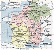 The Frankish kingdoms at the time of the death of Pepin of Heristal. Note that Aquitaine (yellow) was outside of Arnulfing authority and Neustria and Burgundy (pink) were united in opposition to further Arnulfing dominance of the highest offices. Only Austrasia (green) supported an Arnulfing mayor, first Theudoald then Charles. Note that the German duchies to the east of the Rhine were de facto outside of Frankish suzerainty at this time.
