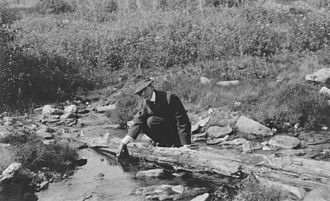 Frank G. Carpenter - Frank Carpenter near Hot Springs, Alaska