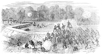 Battle of Peebles's Farm - 5th Corps attacking a Confederate fort, September 30th