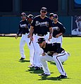 Freddie Freeman stretches during drills (25252855496).jpg