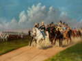 Frederik VII af Danmark på hesteryg under en militærparade.png
