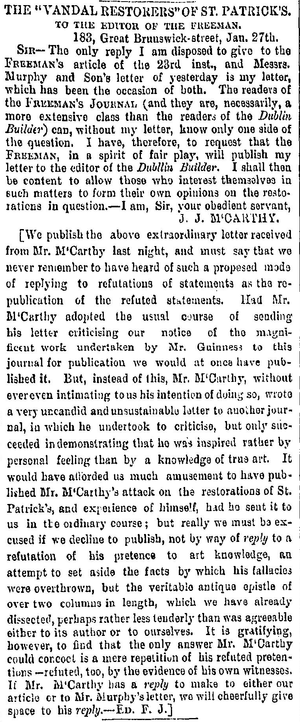 Letter to the editor - Letter to the editor by J. J. McCarthy, demanding the publication of his letter to the Dublin Builder which was commented upon in the Freeman's Journal, and its response by the editor, John Gray. Published on p. 3 of the Freeman's Journal of 28 January 1863