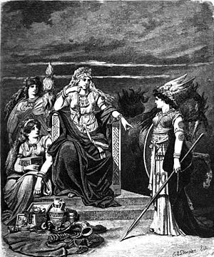 Frigg - Frigg sits enthroned and facing the spear-wielding goddess Gná, flanked by two goddesses, one of whom (Fulla) carries her eski, a wooden box. Illustrated (1882) by Carl Emil Doepler.