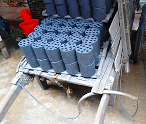Briquette - Fuel briquettes, called mei (coal 煤), sold throughout China