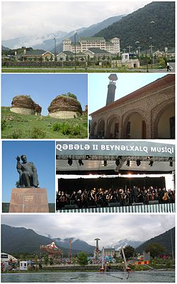 From top: Qafqaz Riverside Resort Center; II left: The ruins of Qabala Fortress, right: A medieval Juma Mosque in Imam Baba Tomb; III left: Statue of Ismayil Bey Gutqashenli, right: Gabala International Music Festival; Bottom: Qabaland amusement park