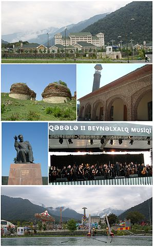 Qabala - From top: Qafqaz Riverside Resort Center;  II left: The ruins of Qabala Fortress, right: A medieval Juma Mosque in Imam Baba Tomb;  III left: Statue of Ismayil Bey Gutqashenli, right: Gabala International Music Festival;  Bottom: Qabaland amusement park