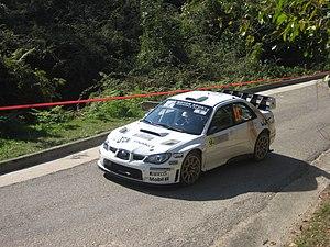 Tour de Corse - Gareth Jones driving a Subaru Impreza WRC at the 2008 rally.