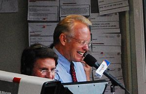 Gary Thorne - Gary Thorne (back) with Jim Palmer during a Baltimore Orioles game.