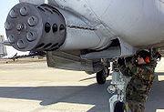 The GAU-8 Gatling gun of an A-10 Thunderbolt II  at Osan Air Base, Korea.