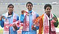 Gayathry (INDIA) won Gold Medal, Sajitha KV (INDIA) won Silver Medal and RAIS Rajasinghe (SRI LANKA) Bronze Medal in 100m Women's Hurdles Run, at the 12th South Asian Games-2016, in Guwahati on February 10, 2016.jpg