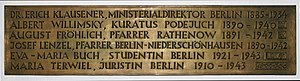 Erich Klausener - Image: Gedenktafel Hinter der Katholischen Kirche 3 (Mitte) Christen im Widerstand 2