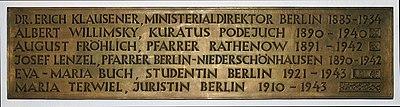 Gedenktafel Hinter der Katholischen Kirche 3 (Mitte) Christen im Widerstand2